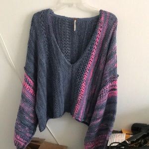 NWT FP Super Oversized Knit Sweater V Neck Sz Med